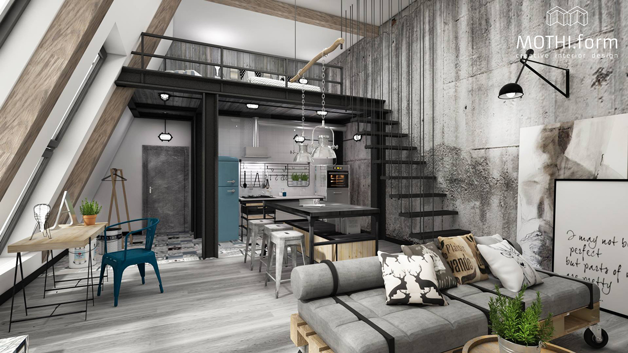 7 inspirational loft interiors for Concrete home design ideas