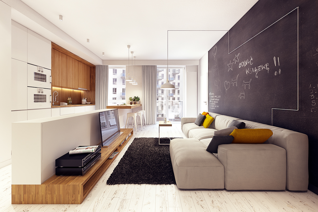 Cozy Modern Sofa - 2 sunny apartments with quirky design elements