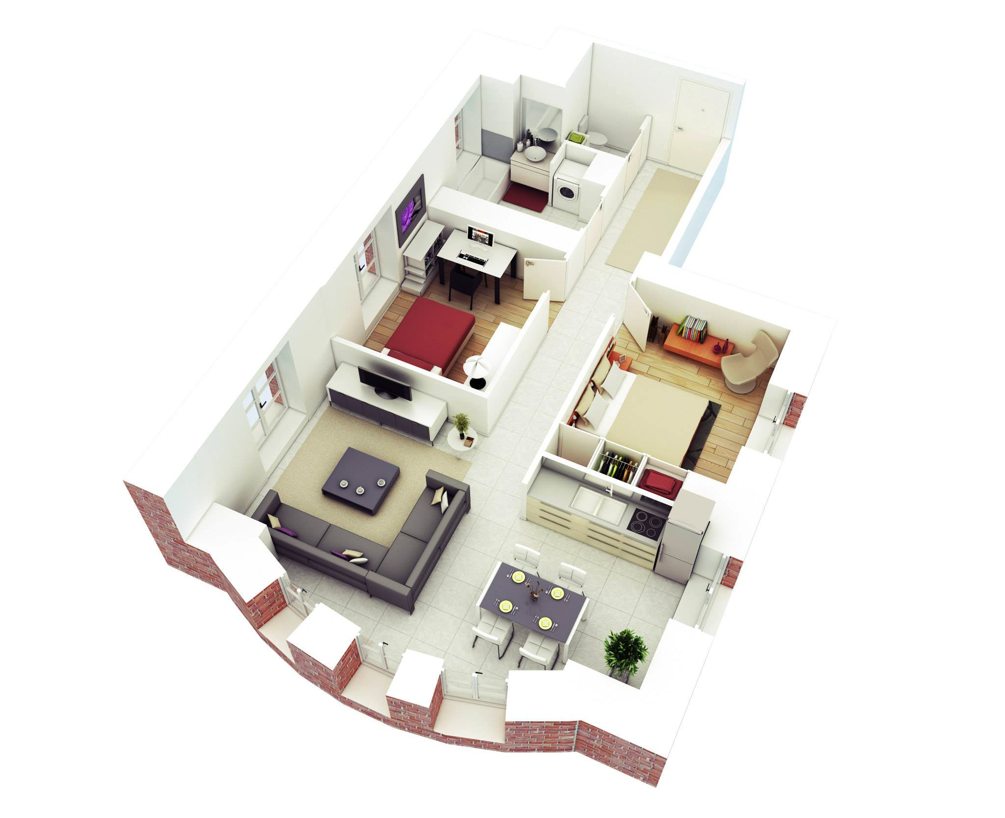 25 more 2 bedroom 3d floor plans for Creative home plans
