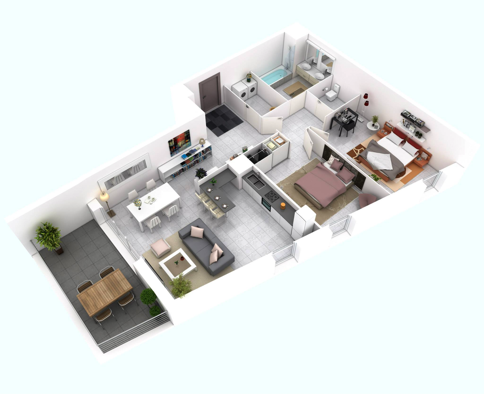 25 More 2 Bedroom 3D Floor Plans - ^