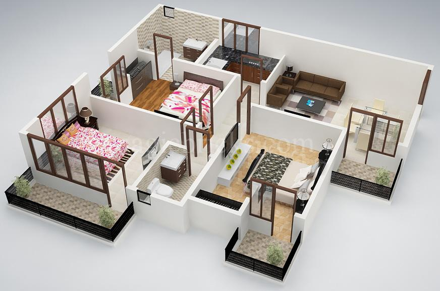 25 three bedroom house apartment floor plans - House of three bedrooms plan ...