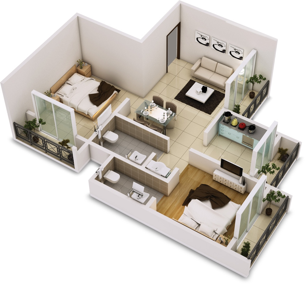 25 two bedroom house apartment floor plans for Design interior apartemen 1 bedroom