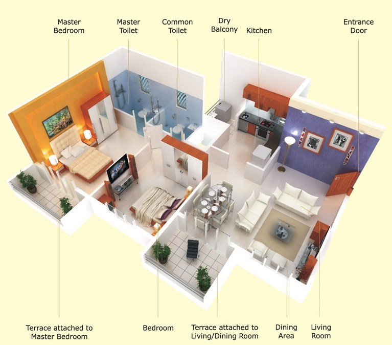 & 25 Two Bedroom House/Apartment Floor Plans