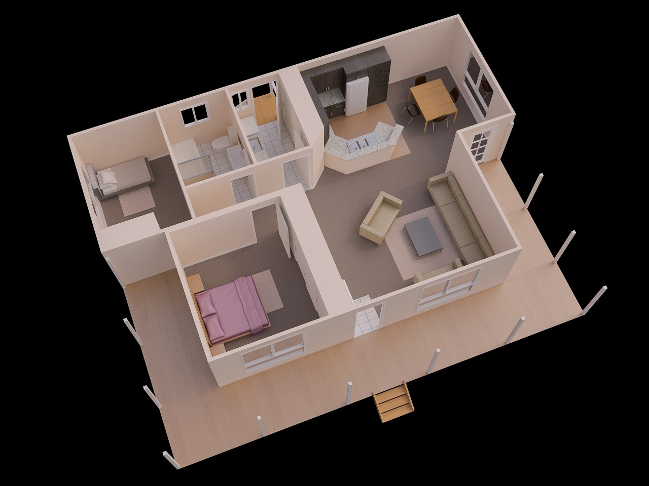 25 source westbuilt - Simple House Plan With 2 Bedrooms 3d