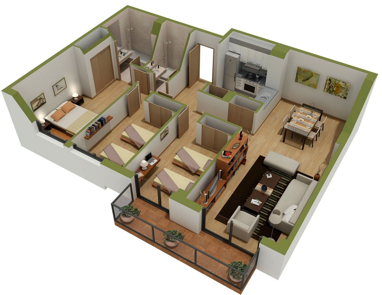 25 three bedroom house apartment floor plans for One floor house design plans 3d
