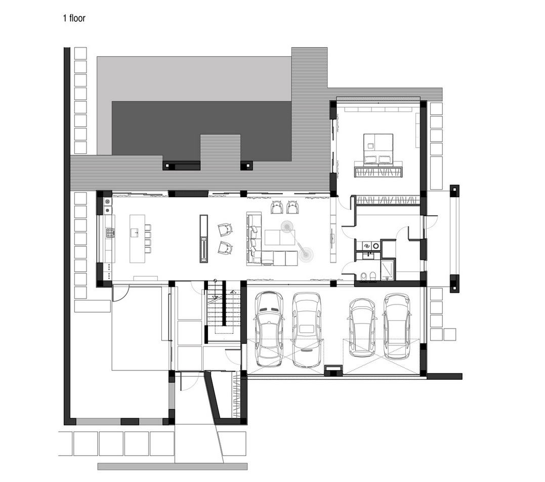 Garage House Floor Plan - A sleek house that puts a passion for cars on display