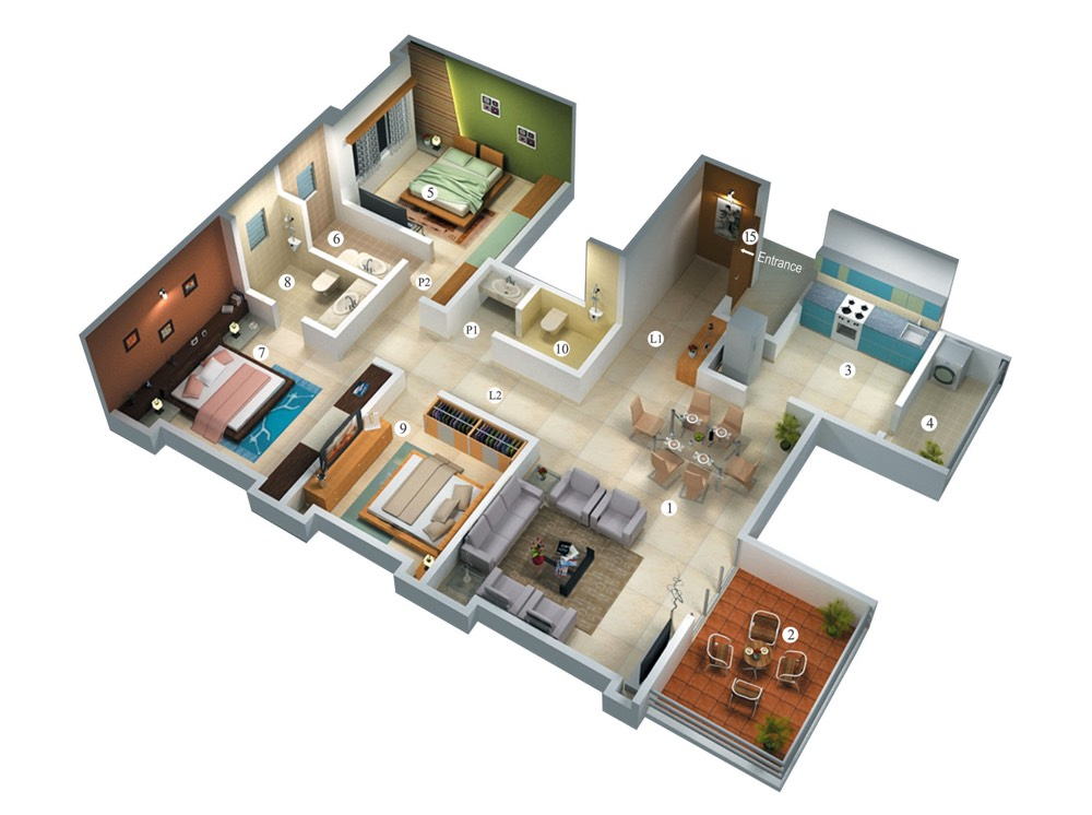 25 three bedroom house apartment floor plans for Large apartment floor plans