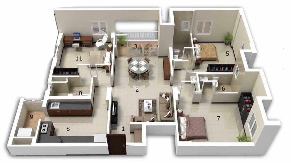 25 three bedroom house apartment floor plans for House arrangement ideas