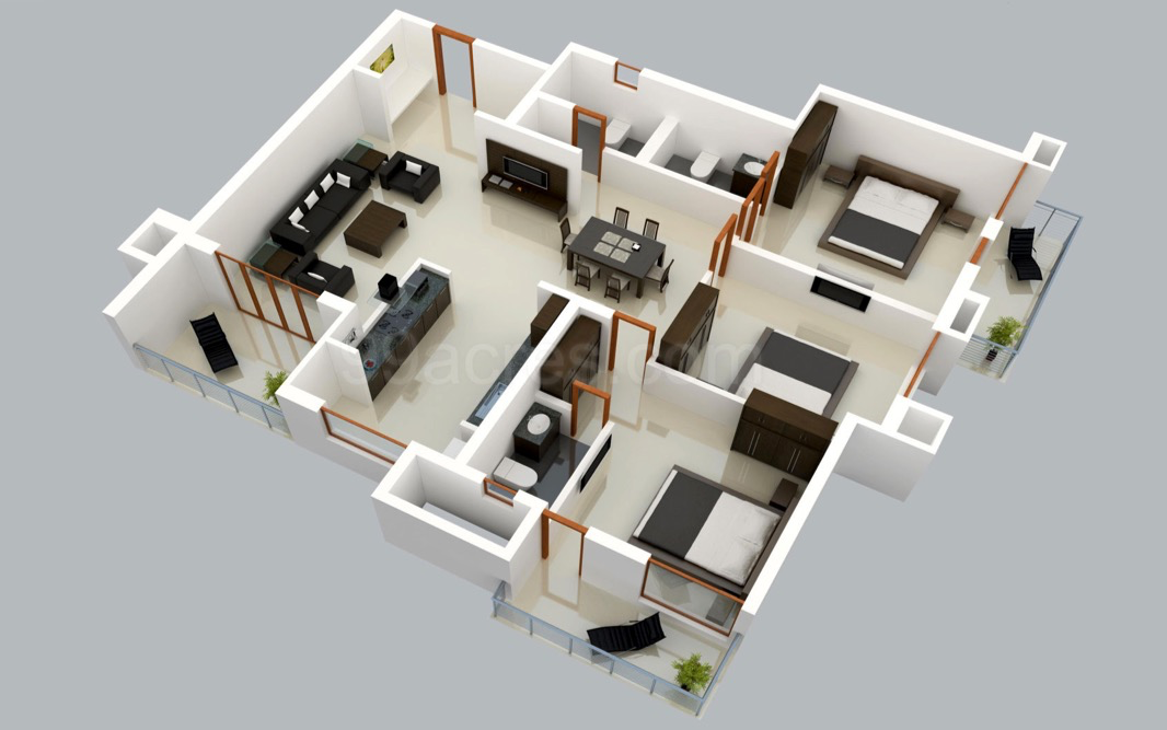 House Layout Design 25 three bedroom house/apartment floor plans