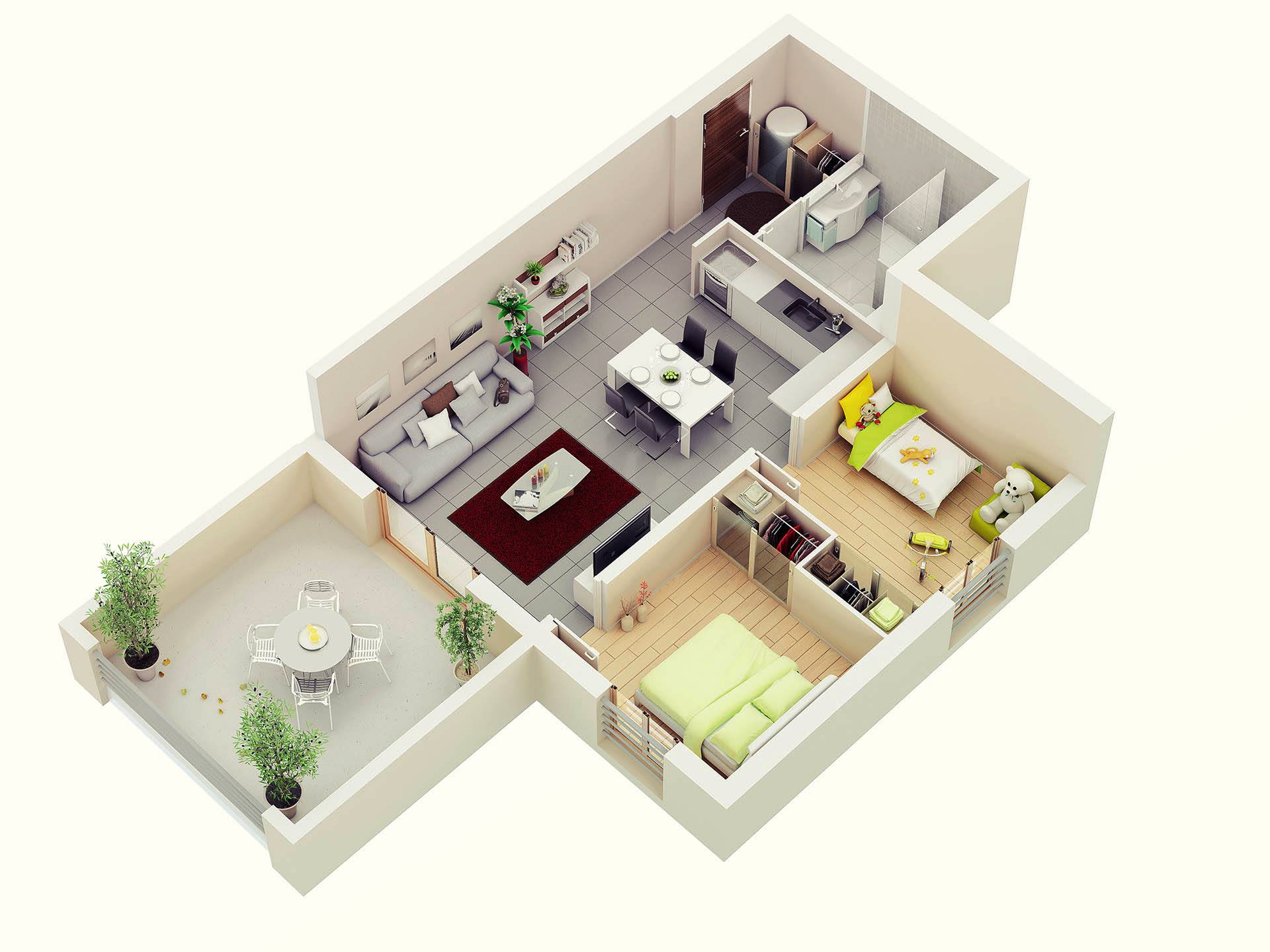 25 more 2 bedroom 3d floor plans for 3d home floor plan design