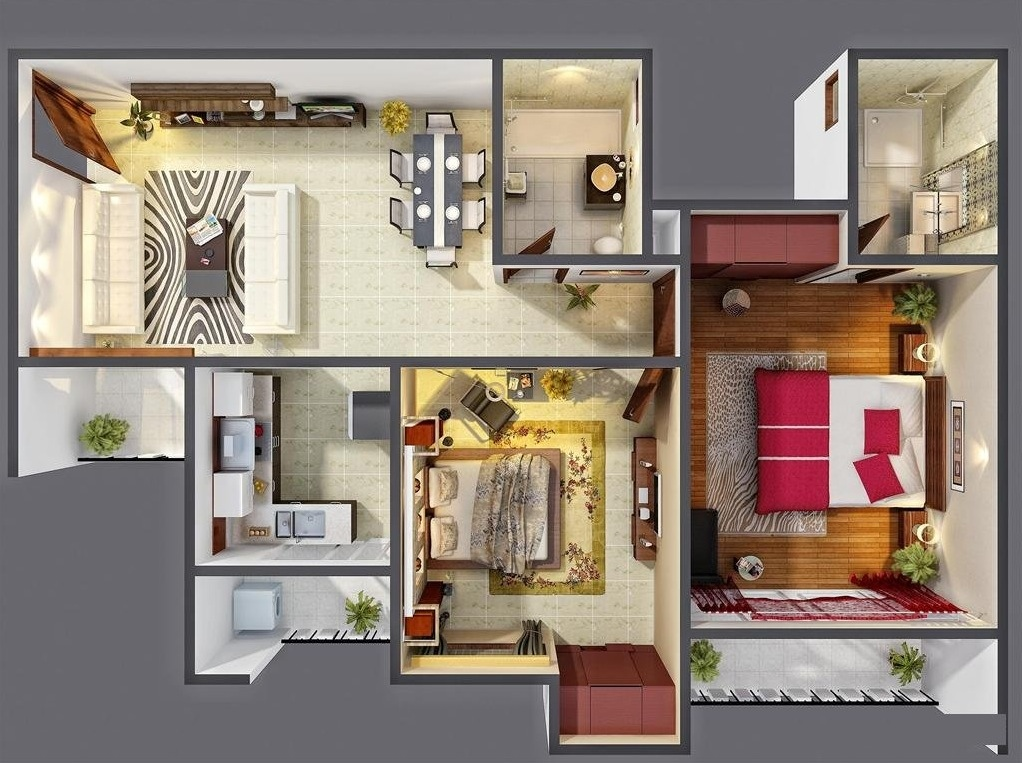 25 two bedroom house apartment floor plans for 3 bedroom