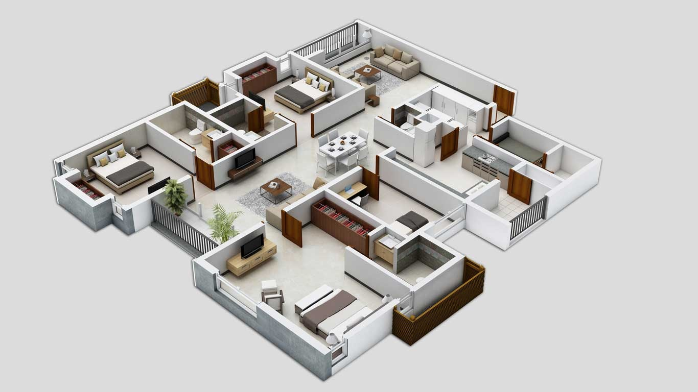 25 three bedroom house apartment floor plans for Top house plan websites