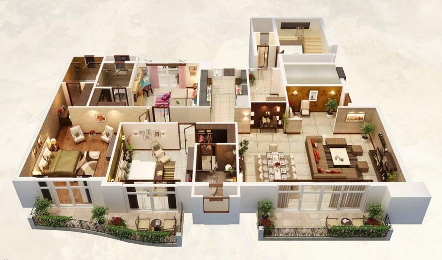 25 three bedroom house apartment floor plans ForHuge Home Plans