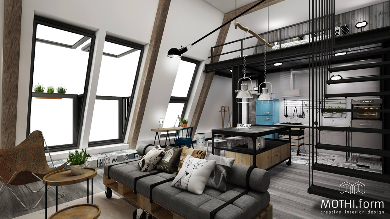 7 inspirational loft interiors for Industrial design house plans