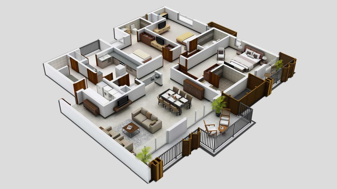 25 three bedroom house apartment floor plans for Three bedroom cabin plans