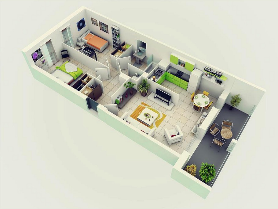 2. 25 More 2 Bedroom 3D Floor Plans