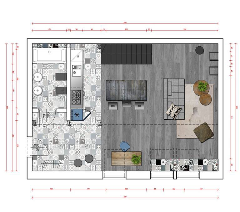 Loft floor plan interior design ideas for Plan de loft moderne