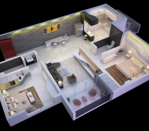 This decadently decorated apartment is spectacularly spacious two bedroom option. With massive bedrooms and a huge open living area including a full kitchen and private patio, it would be an ideal retreat for a bachelor who needs a guest room or a pair of particularly stylish roommates.
