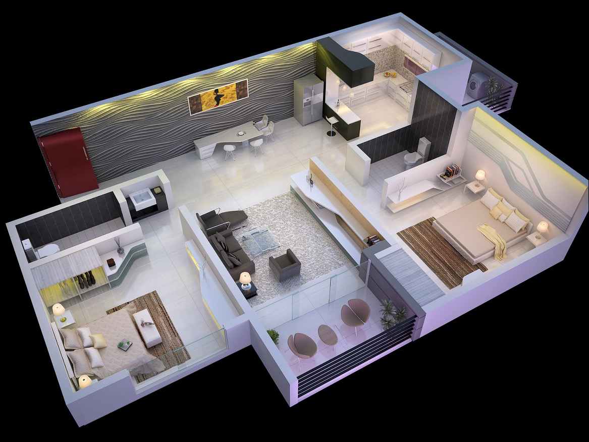 25 more 2 bedroom 3d floor plans - Small House Blueprints 2