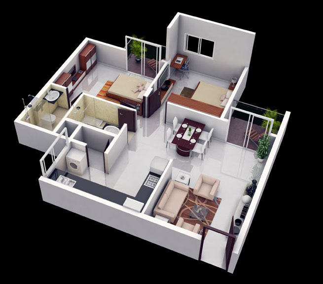 25 more 2 bedroom 3d floor plans - Small Home 2