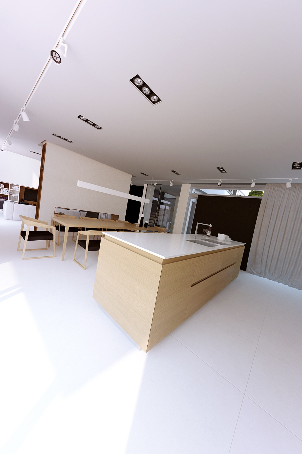Modern Kitchen Counter - A sleek house that puts a passion for cars on display