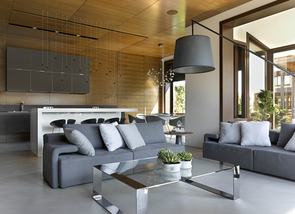 Modular Gray Sofa - Invisible doors turn a home into an artistic feat of design