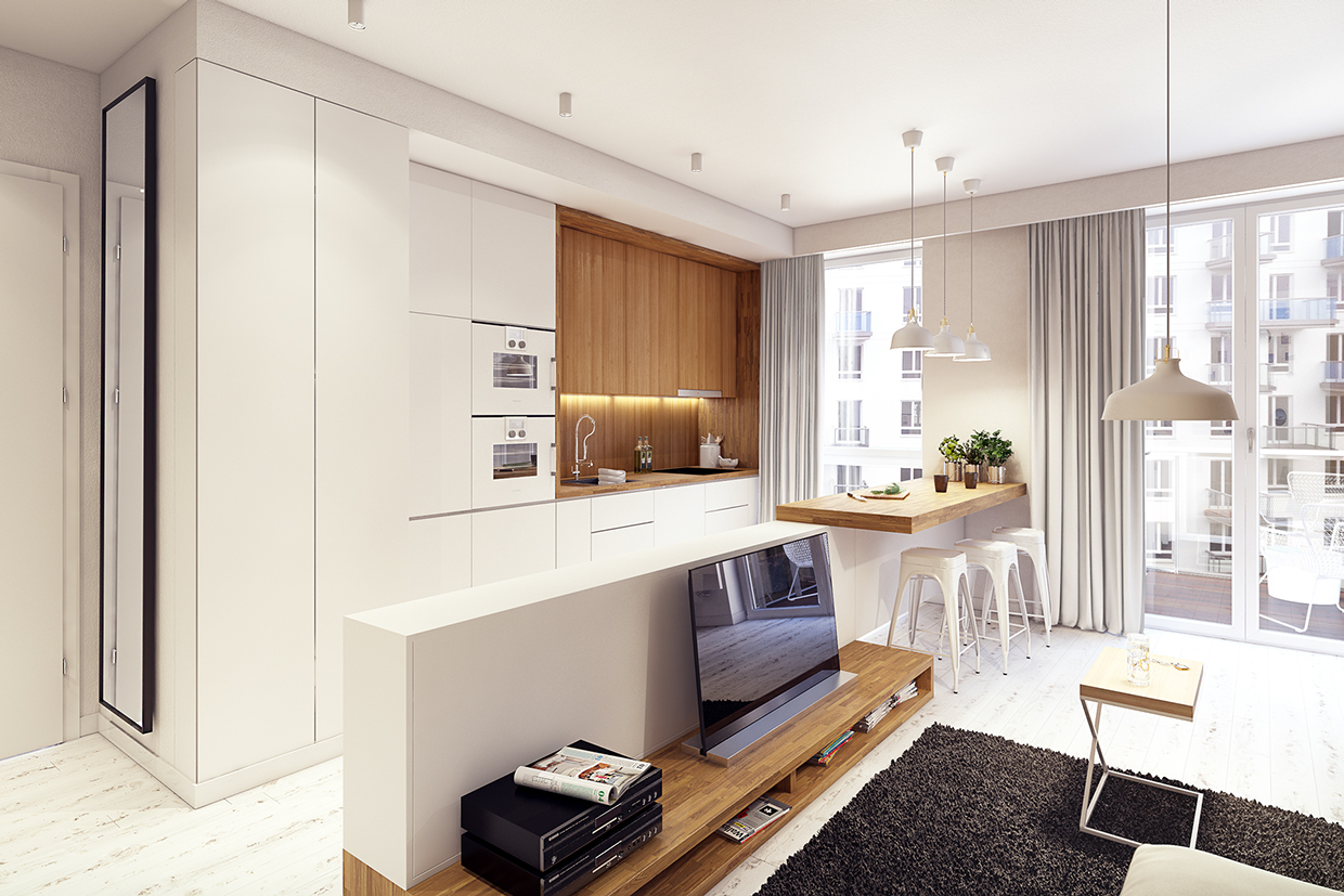 Natural Wood Paneling - 2 sunny apartments with quirky design elements