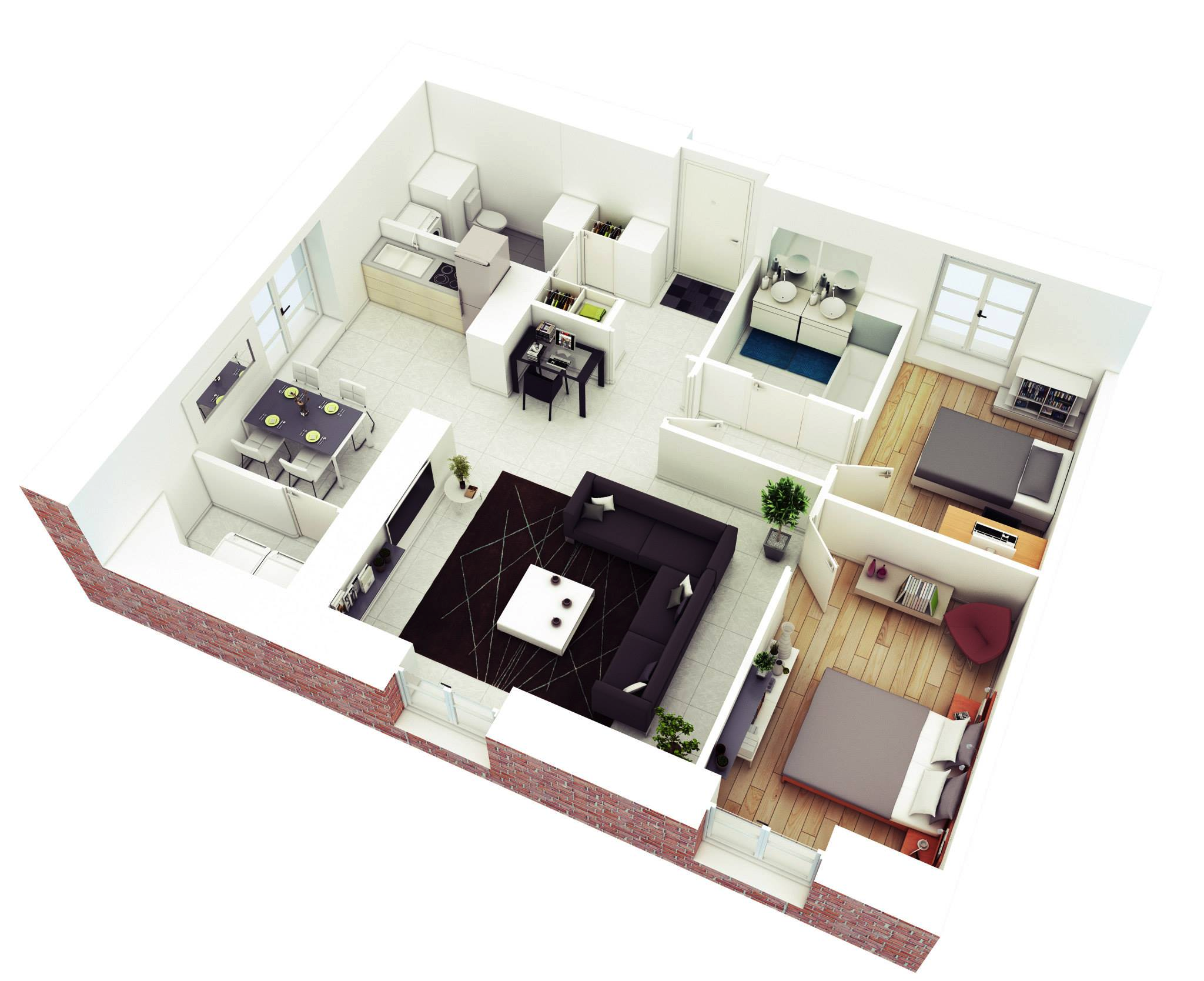 25 more 2 bedroom 3d floor plans for Small house plan design 3d