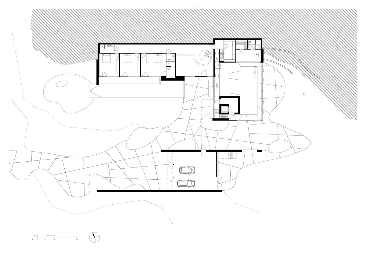 Overhead Modern Home View - Modern exterior complements its gorgeous natural surroundings