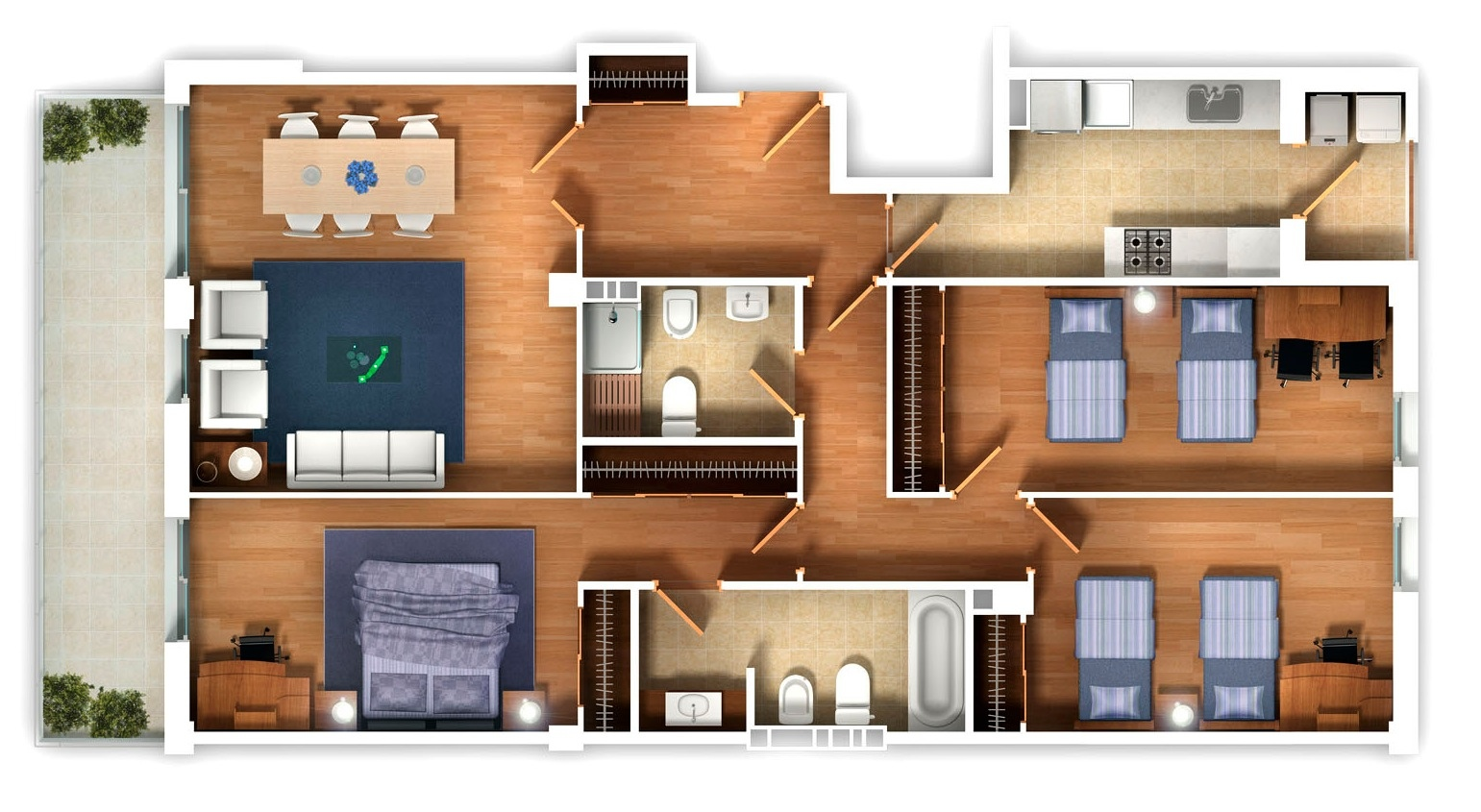 25 three bedroom house apartment floor plans for Digital house design