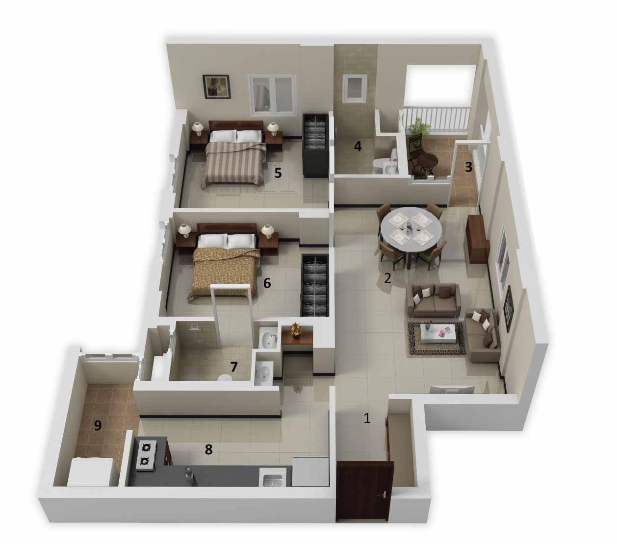 25 more 2 bedroom 3d floor plans for Simple house blueprint