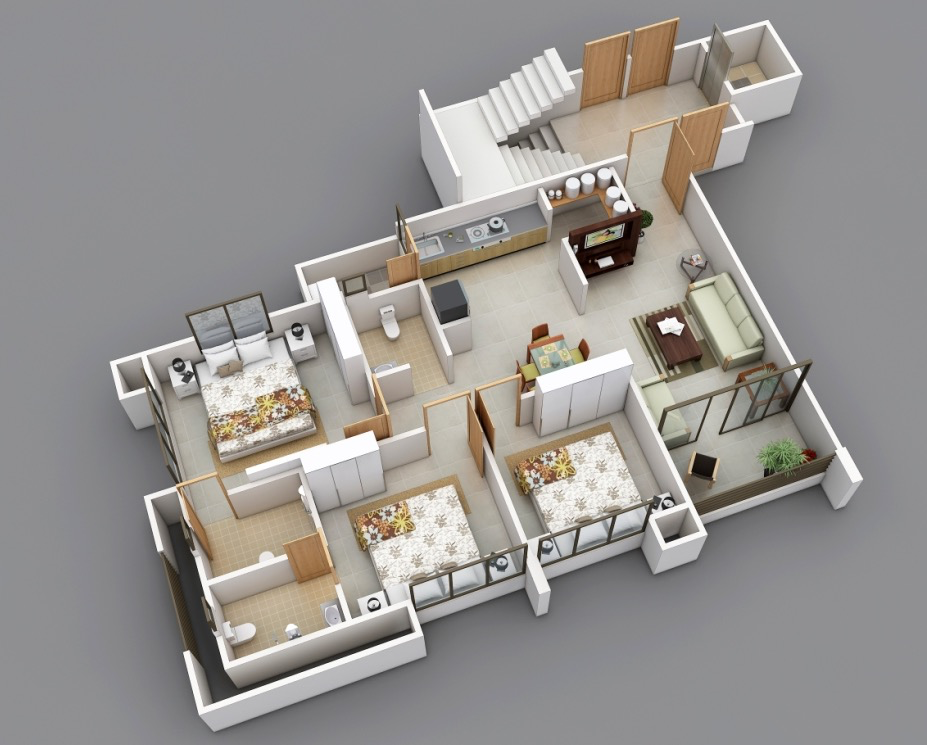 25 three bedroom house apartment floor plans for Simple 3 bedroom floor plans