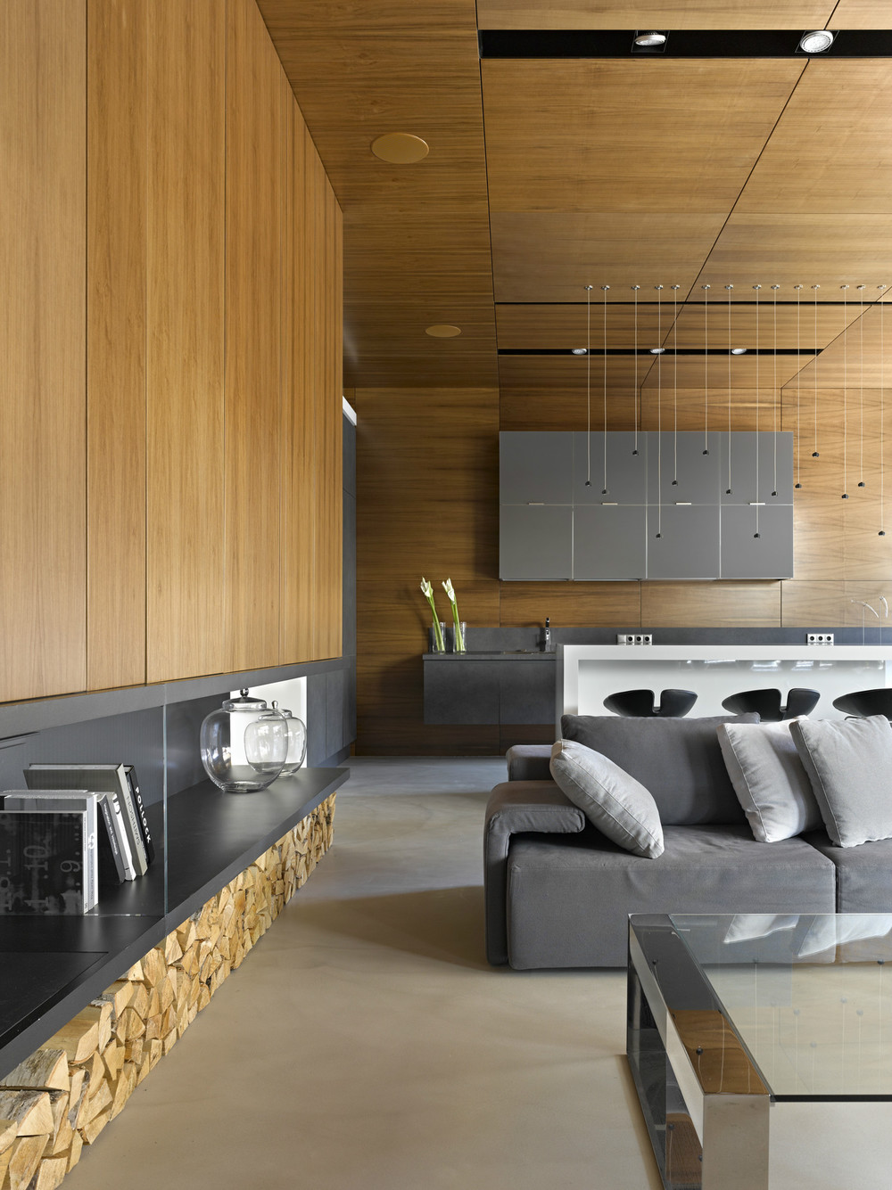 Simple Wall Paneling - Invisible doors turn a home into an artistic feat of design