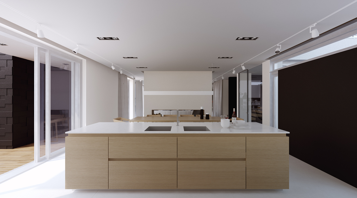 Sleek Kitchen Island - A sleek house that puts a passion for cars on display