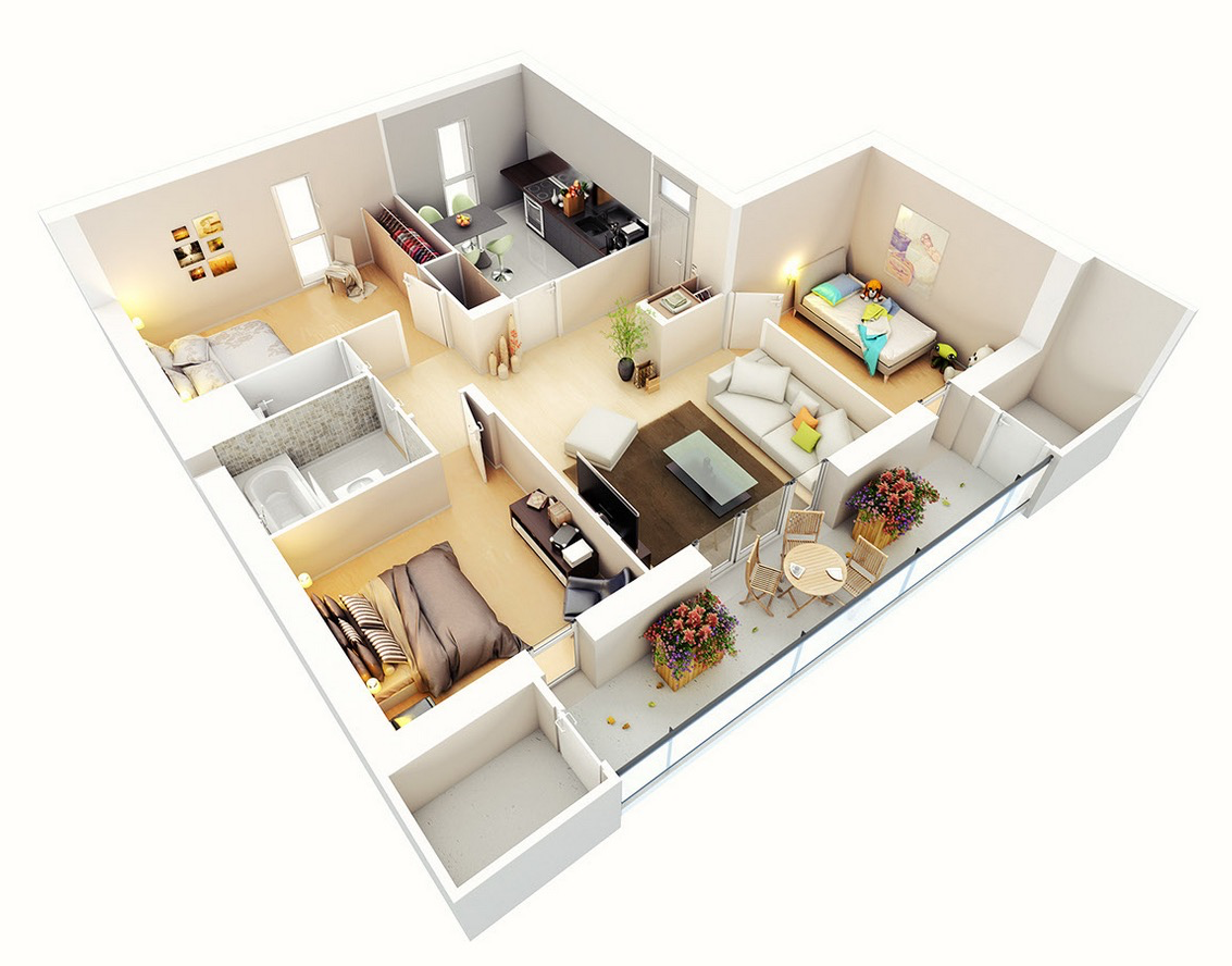 25 three bedroom house apartment floor plans for Floor plans for 3 bedroom flats