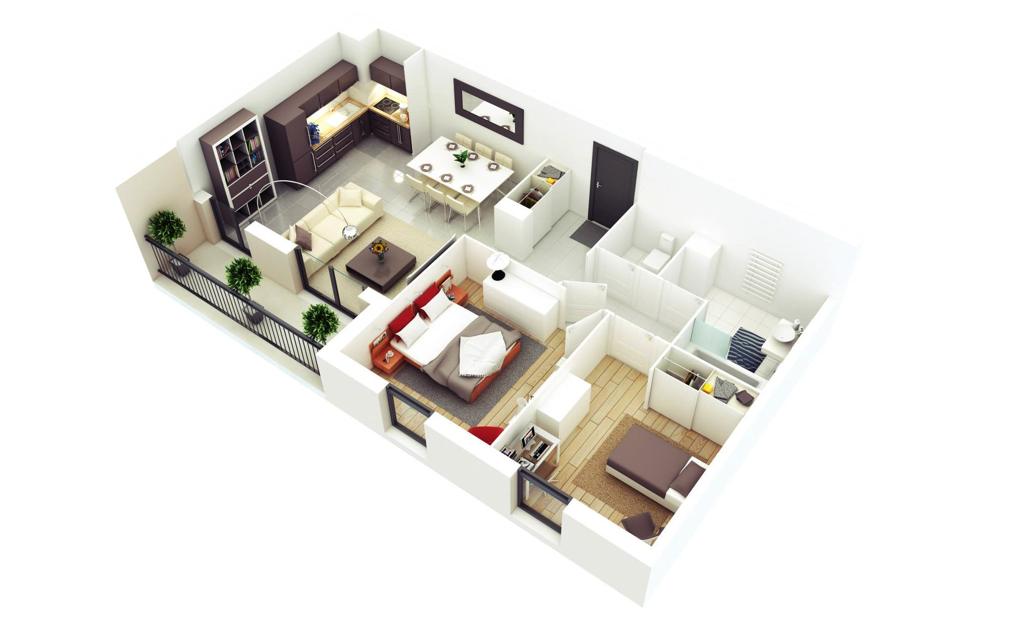 25 more 2 bedroom 3d floor plans for Planos de casas 3d