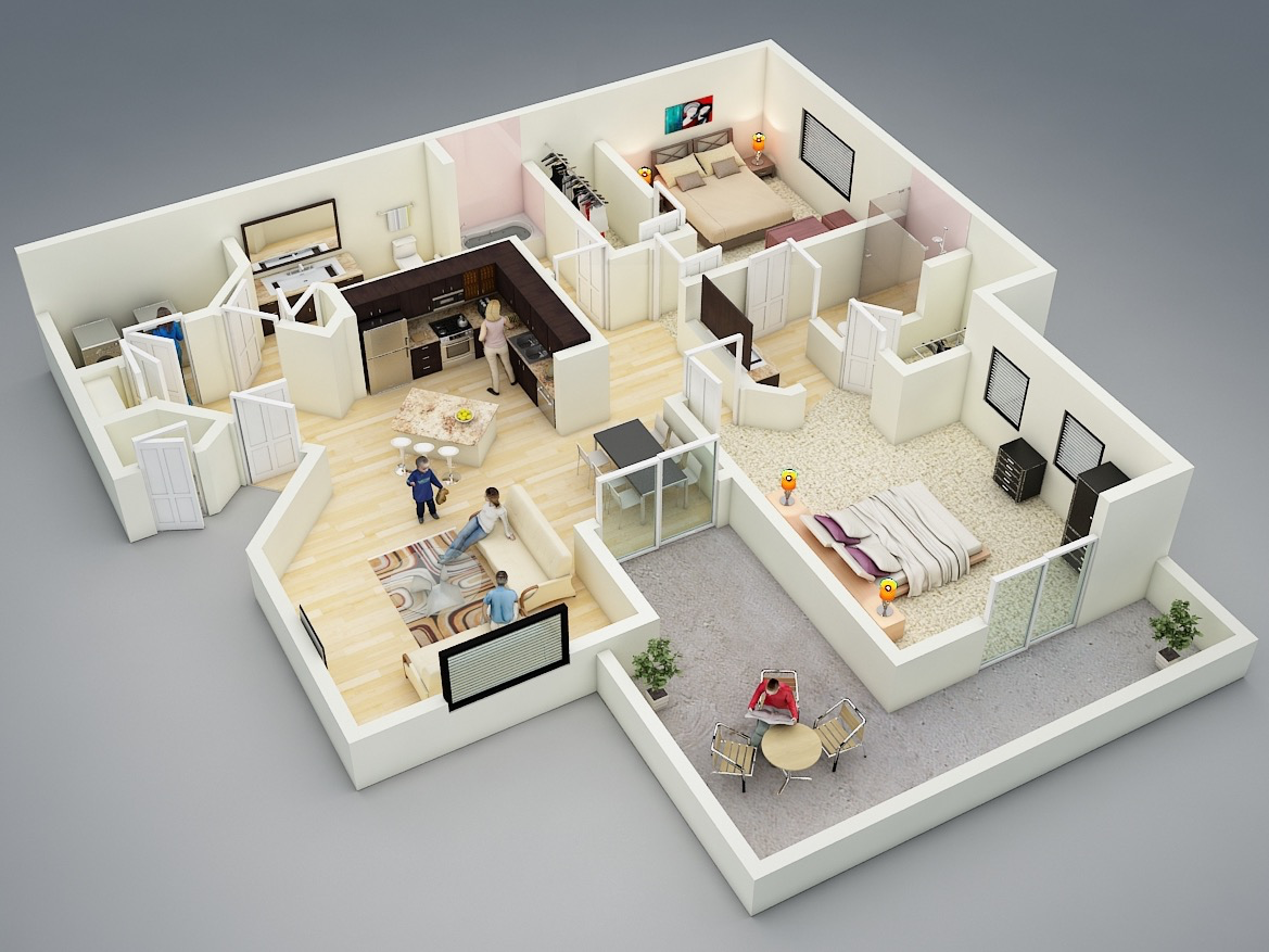 25 more 2 bedroom 3d floor plans - 2 Bedroom House Plans