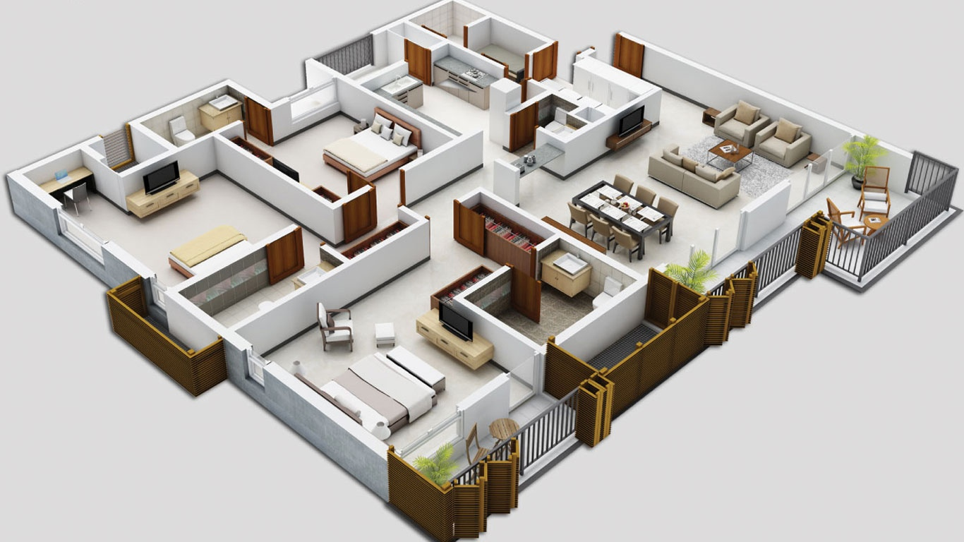 25 three bedroom houseapartment floor plans - House Plans In 3d For Free