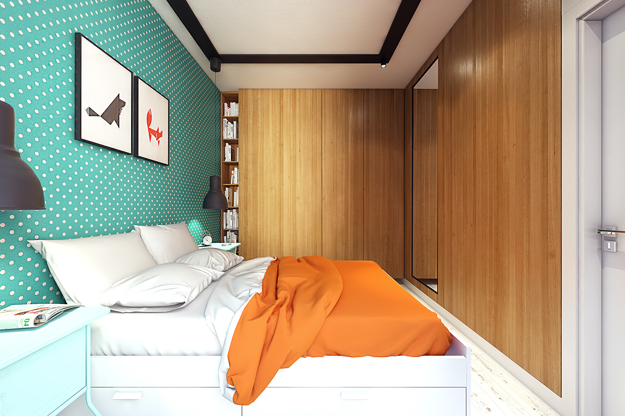 Teal And Orange Bedroom 2 Sunny Apartments With Quirky Design Elements
