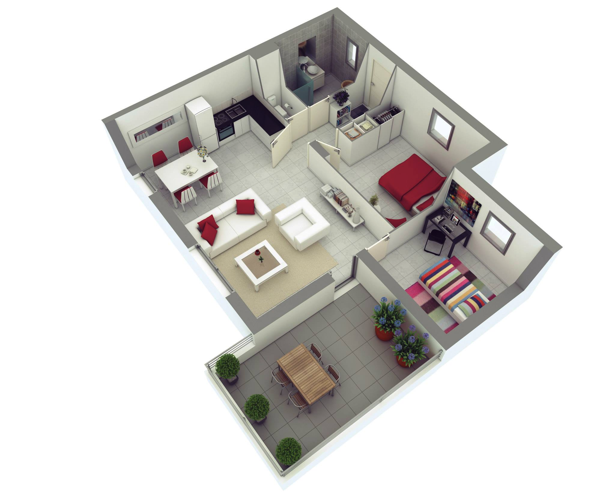 25 more 2 bedroom 3d floor plans - Simple House Plan With 2 Bedrooms 3d