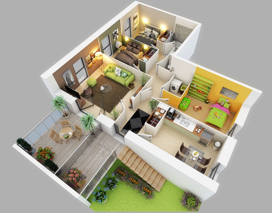 25 three bedroom house apartment floor plans for Apartment design 3d