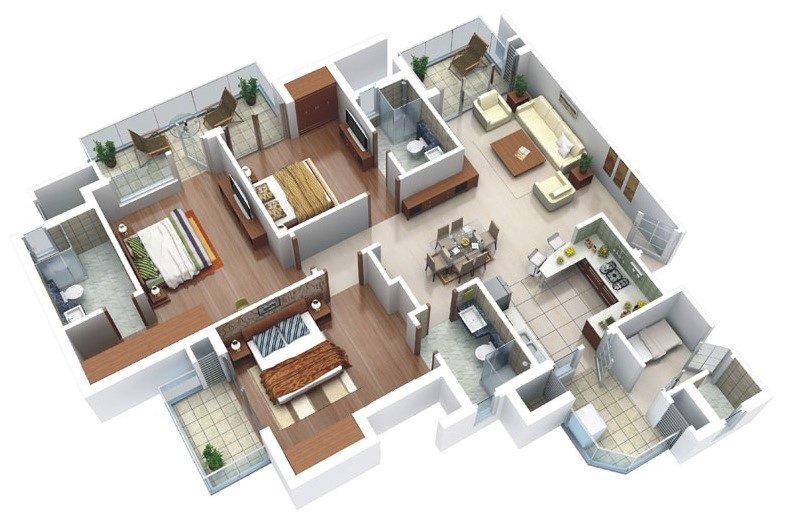 25 three bedroom house apartment floor plans for Townhouse layout 3 bedrooms