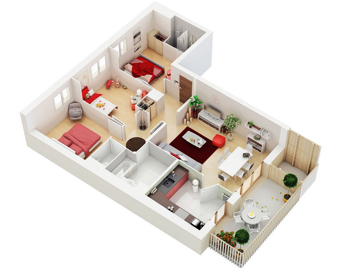 25 three bedroom house apartment floor plans for L shaped apartment design