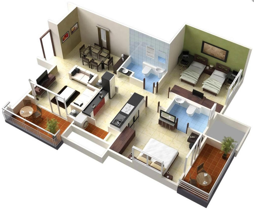 25 two bedroom house apartment floor plans for Simple two bedroom apartment design
