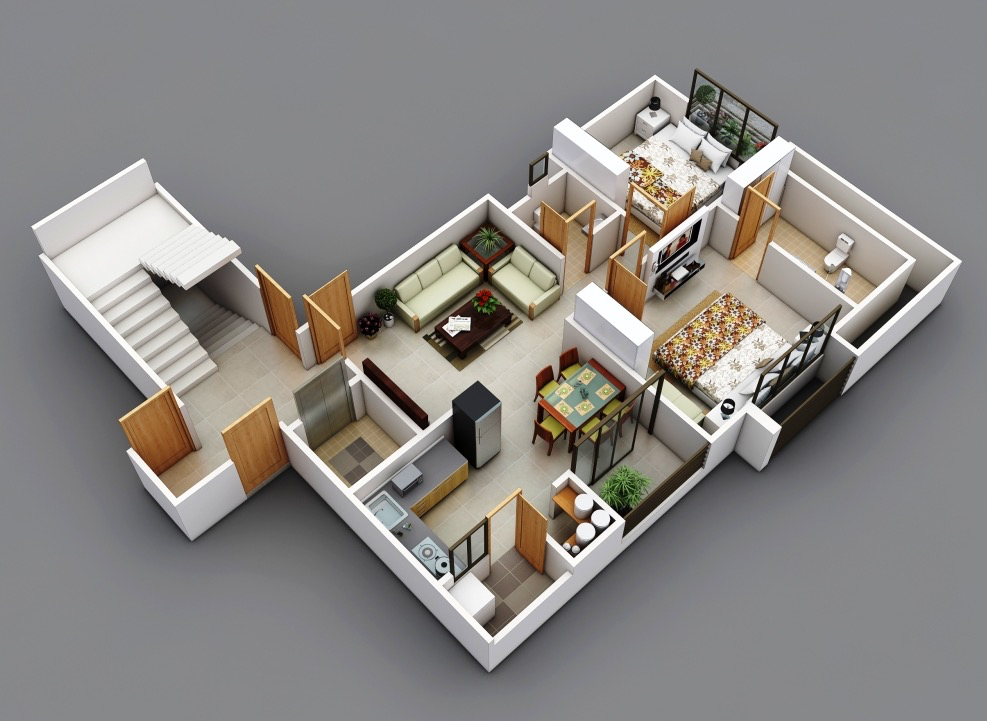 25 two bedroom house apartment floor plans for Room layout builder
