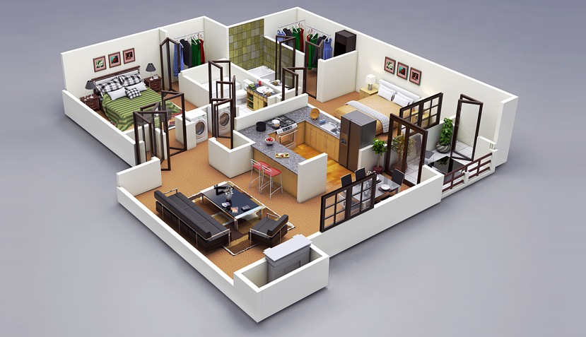 25 two bedroom houseapartment floor plans - Simple House Plan With 2 Bedrooms 3d