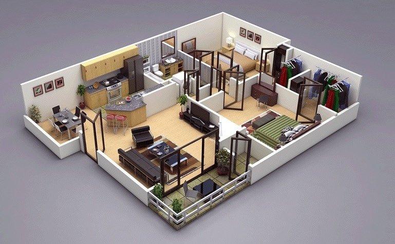 25 two bedroom houseapartment floor plans - Tiny Tower 3 Bedroom Home Design