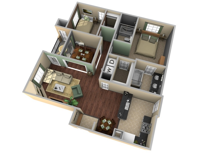 25 two bedroom house apartment floor plans for Apartment layout planner