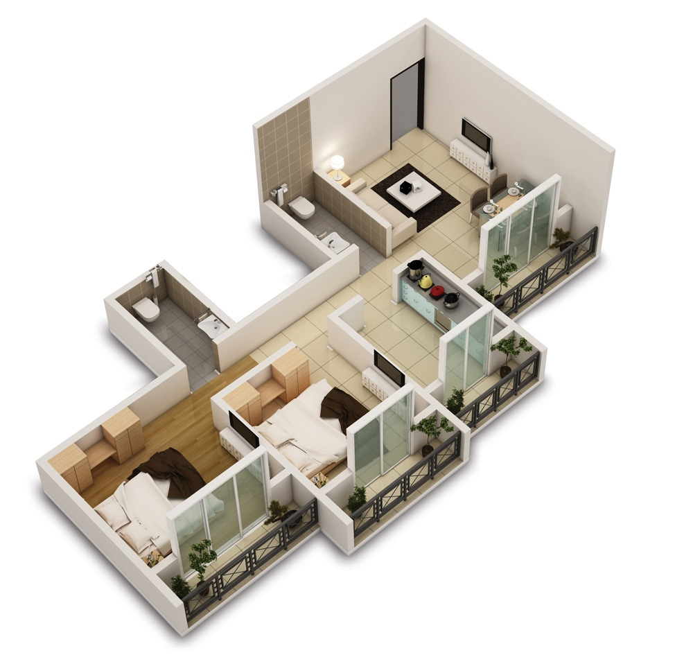 25 two bedroom house apartment floor plans for Two floor bedroom