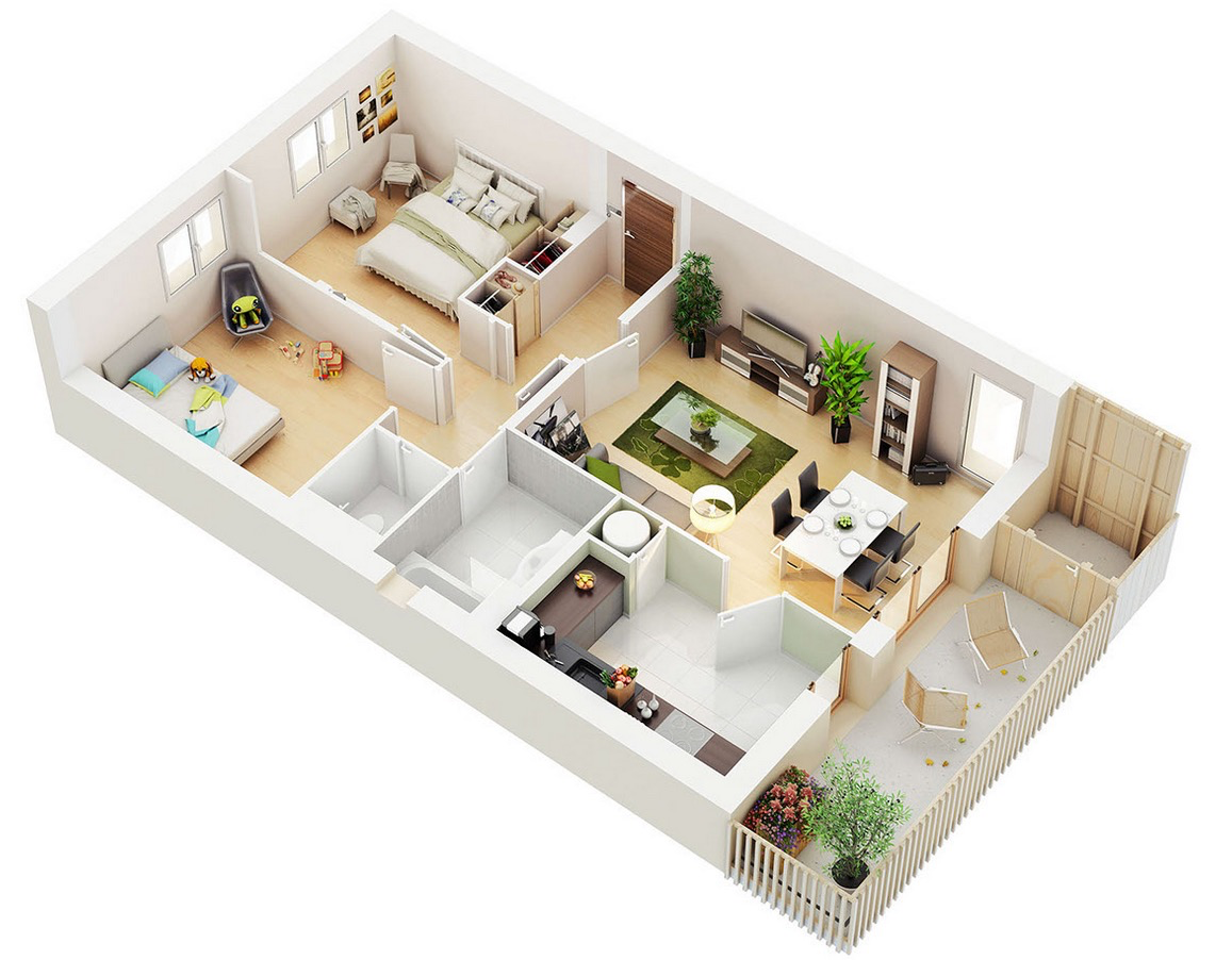25 two bedroom house apartment floor plans for Small house design 3d